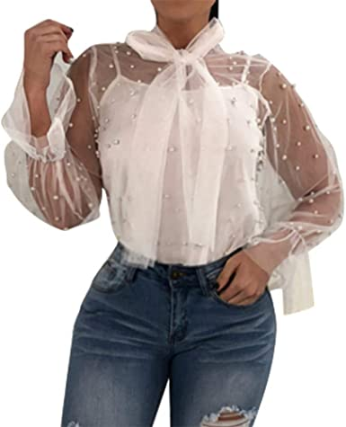 Blusa con Bufanda de Perlas de Malla, Camiseta de Manga Larga, Cuello de Tortuga, Transparente, Sexy, túnica, Fashion Bell Sleeve Blanco XL: Amazon.es: Ropa y accesorios