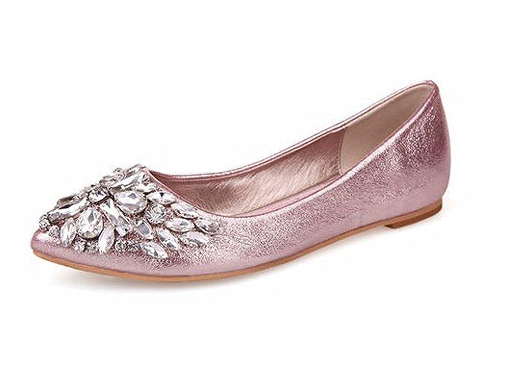 Minetom Donne Ragazze Moda Scarpe Scarpe A Punta Piatto Bling Cristallo Balletto Scarpe Rosa