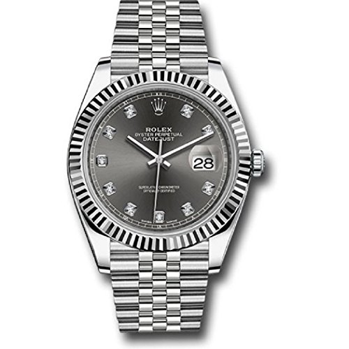 ROLEX DATEJUST 41 STEEL AND WHITE GOLD RHODIUM DIAMOND DIAL JUBILEE BRACELET 41MM