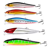 KIKITOY Saltwater Fishing Lures Inshore Large Hard Bait Minnow Lures with Three Triple Pronged Hooks 5Pcs 5.5 Inch 0.8 oz Review