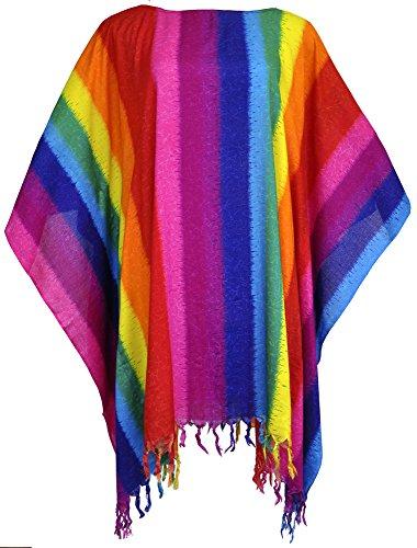 Amazing Grace Elephant Co Lady Rainbow Batwing Sleeves Caftan Tunic Poncho Coverup Kimono Blouse