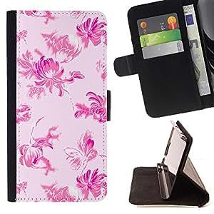 - Pink Floral Wallpaper Pattern - Estilo PU billetera de cuero del soporte del tir???¡¯????n [solapa de cierre] Cubierta- For Samsung ALPHA G850 £š Devil Case £©