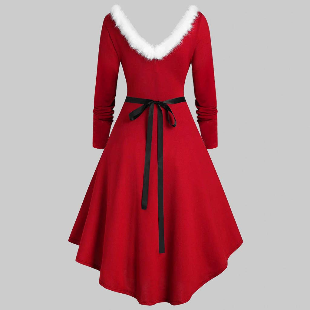 1950s Christmas Dresses Plus Size Cocktail Party Evening Party Prom Swing Retro Printed V-Neck Dress