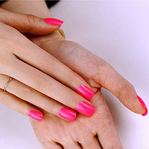 Art plus 24pcs Candy rosa uñas postizas manicura francesa Full Cover media longitud con pegamento uñas postizas: Amazon.es: Belleza