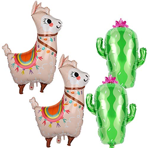 2 Pcs Llama Alpaca Foil Balloons and 2 Pcs Cactus Foil Balloons Mexican Fiesta Theme Party Decorations Birthday Baby Shower Decor Supplies