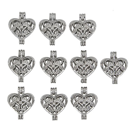 Bruins Heart - 10pcs Heart Shape Locket Pearl Cage Pendant-Add your Own Beads, Stones, pompons Jewelry Necklace Making Gift