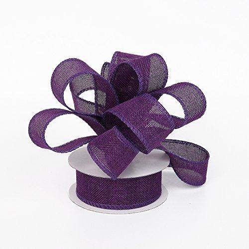 Burlap Ribbon Perfect for Wedding Home Decoration Gift Warp Bows Made Handmade Art Crafts 1-1/2 Inch X 10 Yard Spool (Dark Purple) (Decoration Handmade)