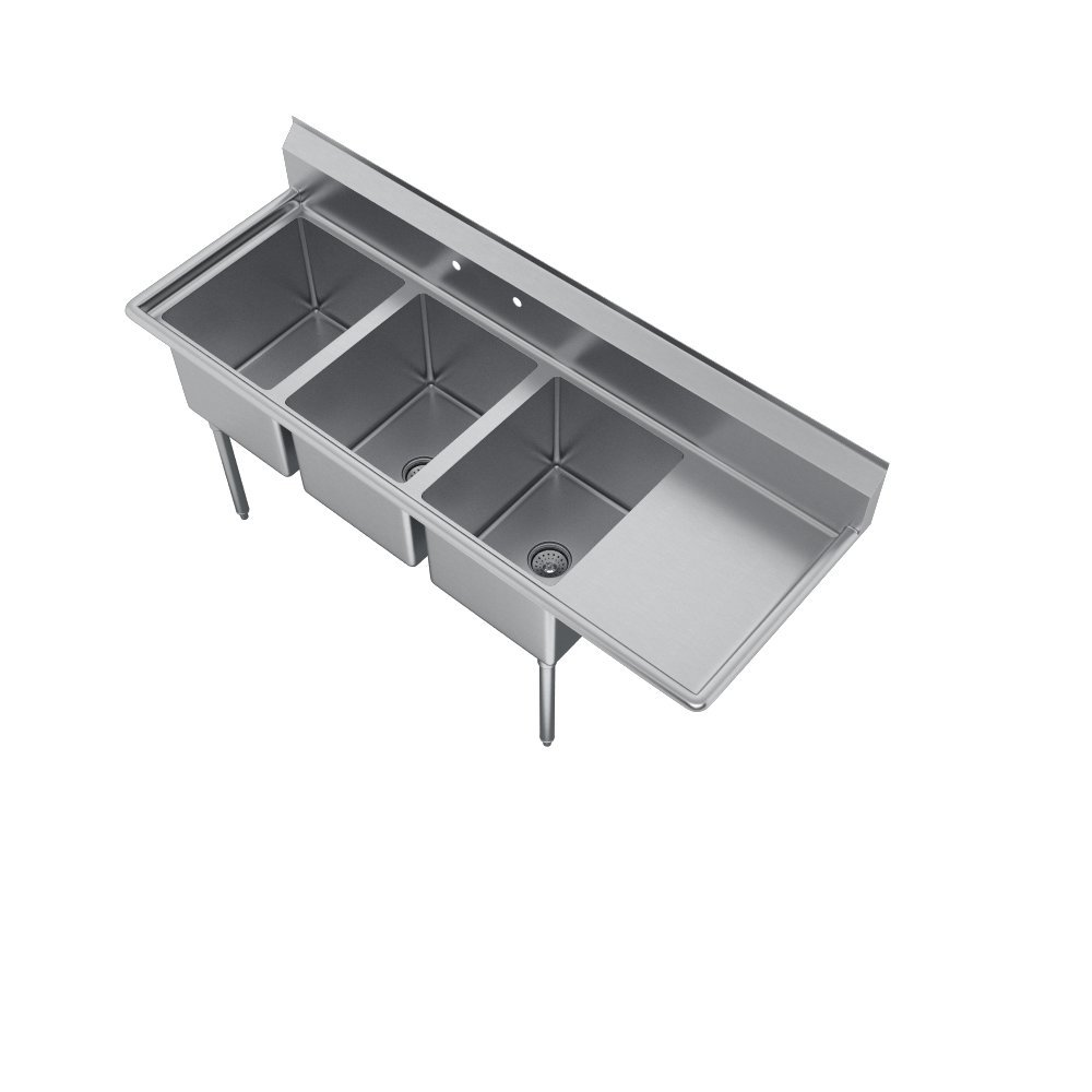E-Series 3-Compartment Sink, 18'' right drainboard by Elkay (Image #5)
