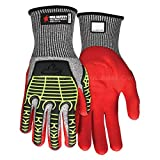 MCR Safety UltraTech 13 Gauge Cut Resistant HPPE Gloves with Nitrile Foam, Padded Palm and TPR Back, 2XL (4 Pairs)