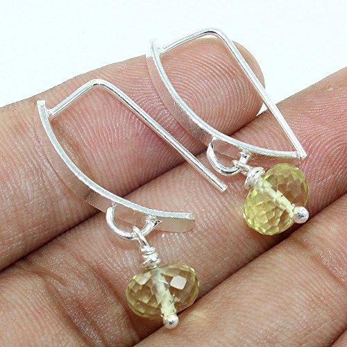 Natural Lemon Quartz Beaded Gemstone Sterling Silver Earrings - Quartz Drop Lemon