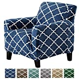 chair slip cover Great Bay Home Modern Velvet Plush Strapless Slipcover. Form Fit Stretch, Stylish Furniture Shield/Protector. Magnolia Collection Strapless Slipcover Brand. (Chair, Navy)