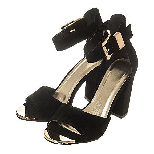 Womens Ladies Medium Block Heel Sandal with Open Toe & Ankle Strap BLACK SUEDETTE Nn1pce