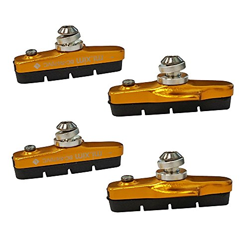Pioneeryao Sport Road Bike Cycle Bicycle Brake Pads Block 2 Pairs (Golden)