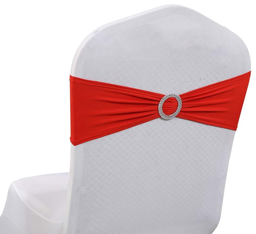 mdsスパンデックス椅子サッシュリボンサッシュ200個パック 伸縮性椅子バンド バックル付き 結婚式やイベントの装飾用 送料0円 ライクラスライダーサッシュボウ - B07MLFGBML 30色 200_Spandex レッド 200 sasha_Red お得クーポン発行中