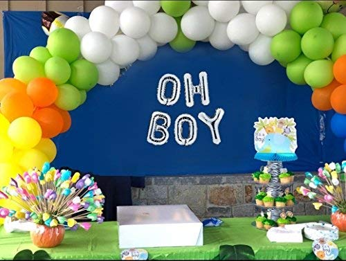 "16"" Silver ""OH BOY"" Foil Balloon Banner, Gender Reveal/Baby Shower/Photo Ornament/Party Decor"