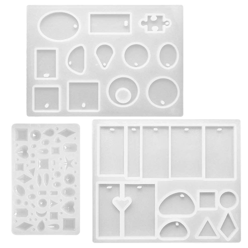 3 pcs Silicone Resin Casting Molds, FineGood DIY Jewelry Pendent Craft Making Moulds with Hanging Hole