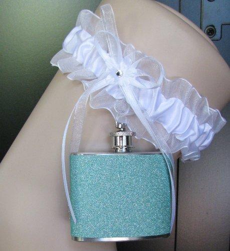 Garter Flask Lace Garter & Seafoam Glitter Stainless Steel Liquor Hip Flask Bridesmaid Bride Wedding Party Gift