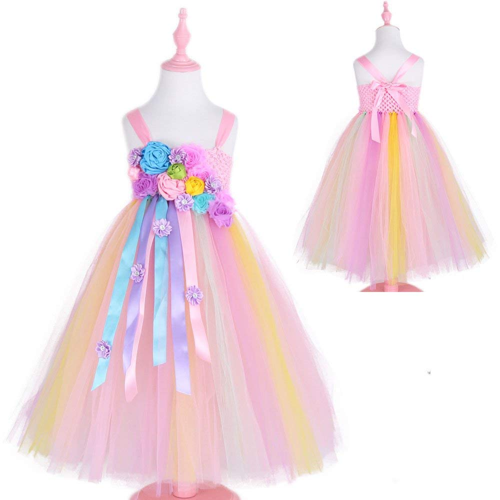 Unicorn Flower Girls Tutu Dress Elegant Princess Tulle Dresses for Wedding Birthday Halloween Party