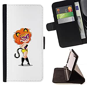 Momo Phone Case / Flip Funda de Cuero Case Cover - Gato Foxy Sexy Lady - Sony Xperia Z5 5.2 Inch (Not for Z5 Premium 5.5 Inch)