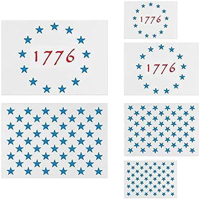 American Flag Star Stencil Templates 6 Pack 50 Stars 1776 13 Stars in 3