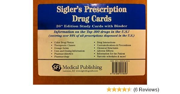 siglers prescription drug cards study cards with binder sigler 9781880579626 amazoncom books - Best Prescription Discount Card Reviews