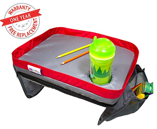 Kids Travel Lap Tray By RazzTots – Children's Portable Lap Activity Desk With Cup Holder & Mesh Pockets | Waterproof Surface with PVC Board | Eating & Playing & Learning On Stroller, Car, Train