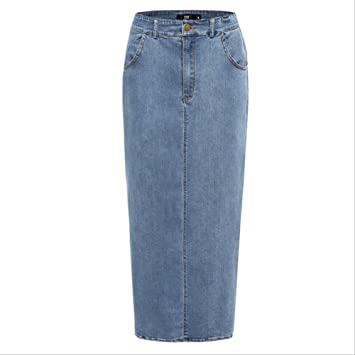 AGHR Falda Plisada Ms High Waist Long Denim Falda Mujer Casual ...