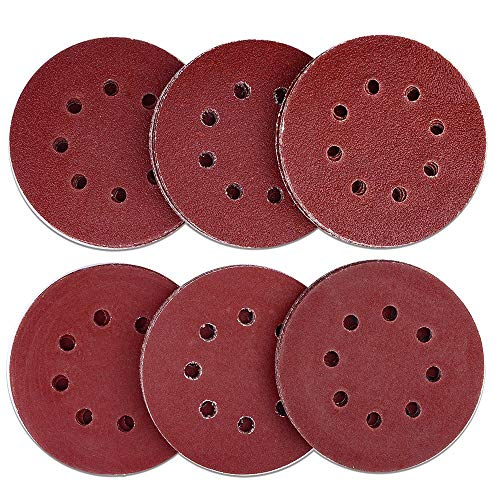 AUSTOR 60 Pieces 8 Holes Sanding Discs, 5 Inch Hook and Loop 40/60/ 80/120/ 180/240 Grit Sandpaper Assortment for Random Orbital Sander (Best Hand Sander For Refinishing Furniture)