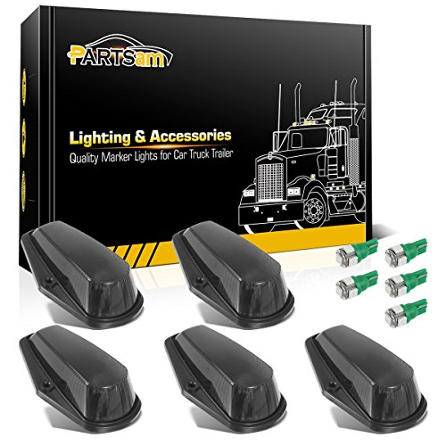 Partsam 5x Cab Marker Top Clearance Light Smoke Covers 5x 5050 T10 Leds Bulbs Green Color 168 194 Light Replacement For 1980 1997 Ford F150 F250 F350 Super Duty Pickup Trucks