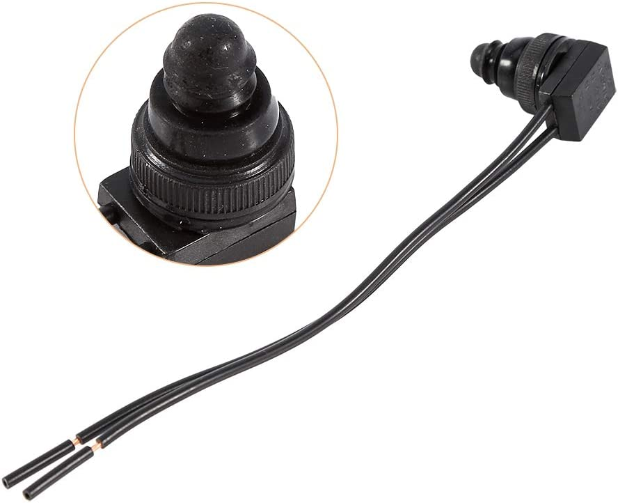 5 Pcs Push Button ON OFF Waterproof Switch 12V 3A 250V Engine Start Momentary Switch with 4 inch Wire Leads for Motorcycle Car