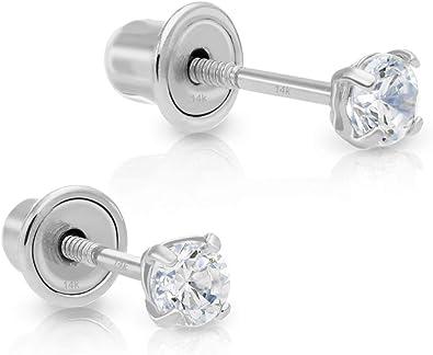 Details about  /14K White Gold Cross Cubic Zirconia Stud Screwback Earrings