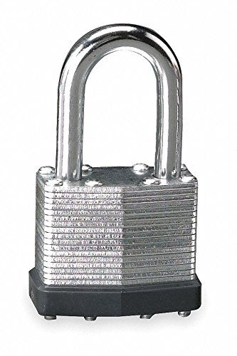 Different-Keyed Padlock, Open Shackle Type, 1-1/2'' Shackle Height, Silver- Pack of 5