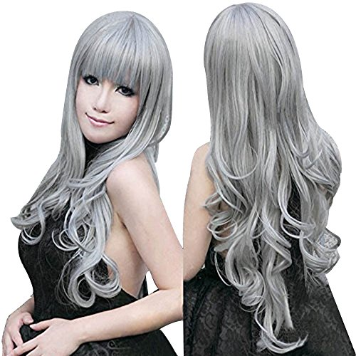 Anogol Vocaloid 80cm Long Grey Wavy Hair Wigs Gray Lolita Cosplay Wig -