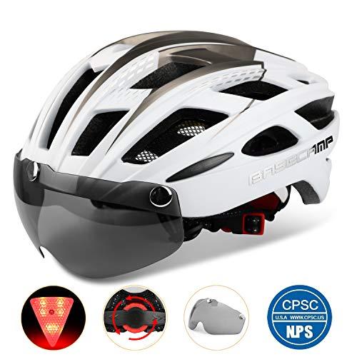 Basecamp Bike Helmet, Light Weight Bicycle Helmet Specialized Cycling Helmet with Removable Visor& Safety Light& Adjustable Liner for Men&Women (White)