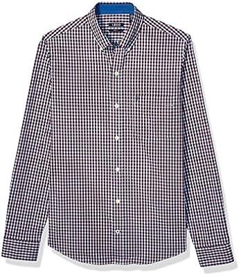 IZOD Men's Slim Fit Button Down Long Sleeve Stretch Performance Gingham Shirt