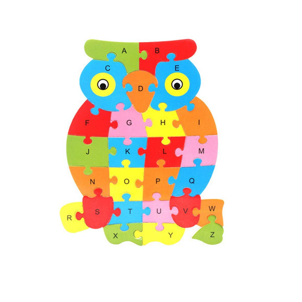 Gbell Colorful Animal Letters A to Z Wooden Puzzle Set for Toddlers,25×21×0.4CM Alphabet Jigsaw Board Educational Toy Gift for 1-5 Year Old Baby Girl Boy Kids (A)