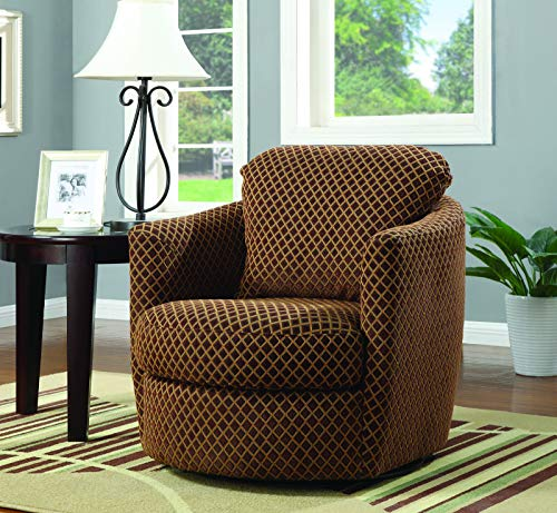 Swivel Upholstered Chair Brown (Plaid Swivel Chair)