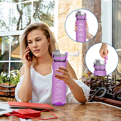 HSicily 32oz Leakproof Water Bottle with Time Marker, Motivational Fitness Sports Bottle Drinking Reminder BPA Free Jug for Gym, Bike, Yoga, Running