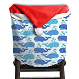 Whale Animal Christmas Chair Covers Antique Scratch Resistant Santa Hat Chair Covers For Adult Armless Chair Slipcover Holiday Festive