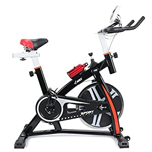 Akonza Stationary Exercise LED Display Cycling Bicycle Heart Pulse Trainer Bike Bottle Holder, Red/Black/White