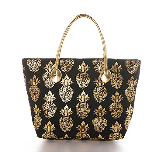 Metal Gold Pineapple Printed Canvas Beach Tote Bag With Leather Handle (Black) ()