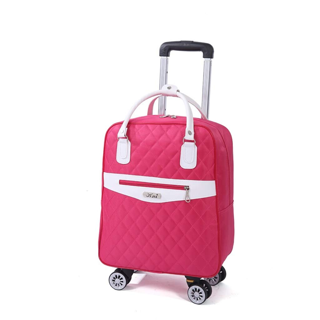 Color : Pink Black Minmin-lgx Rolling Duffle Trolley Bag Wheeled Travel Bags Waterproof Duffel Bag