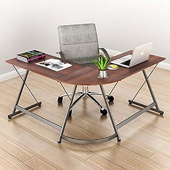 SHW L-Shaped Home Office Corner Desk Wood Top, Espresso