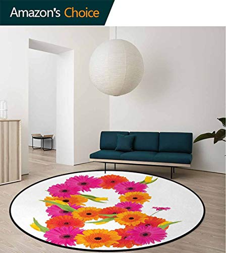 Letter B Round Area Rugs Living Room,Alphabet Symbol With Gerbera Daisies Summer Garden Themed Initial Study Computer Chair Cushion Base Mat Round Carpet Diameter-31 Inch,Orange Hot Pink And Green - Gerbera Daisy Base
