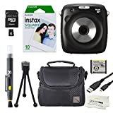 Fujfilm Instax Square SQ10 Hybrid Instant Camera + 10 Instax Square Film Sheets. Bundle Includes Camera Case - Micro SD Card 8GB -Quality Photo Microfiber Cloth - Flexible Tripod - Lens Cleaning Pen