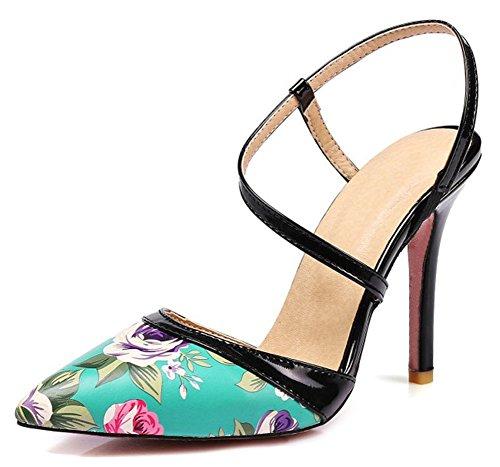Las Mujeres Con Estilo De La Impresión Floral Elegante Stiletto Tacón Alto Strappy Slip On Acentuado Cerrado Sandalias De Punta De Los Zapatos Azules