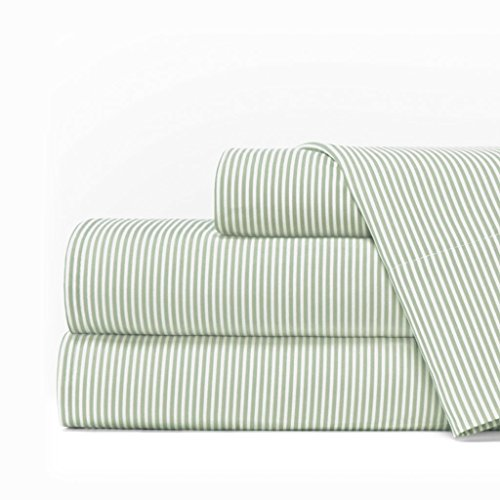 Egyptian Luxury 1600 Series Hotel Collection Pinstripe Pattern Bed Sheet Set - Deep Pockets, Wrinkle and Fade Resistant, Hypoallergenic Sheet and Pillowcase Set - Cal King - Sage/White