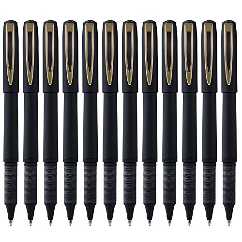 Kihamp Pens,Gel lnk Pens Set,Roller Ball Pens,Black,1.0mm 12-Count (Bold Point, Golden)