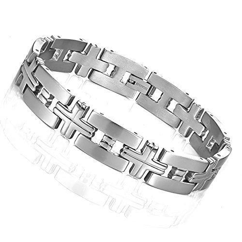(Impressive Men's Titanium Silver Toned Cross Link Bracelet (8.46 Inches))