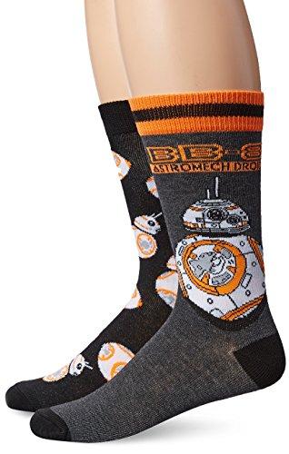 Star Wars Men's Crew, Assorted Orange, fits Sock Size 10-13 fits Shoe Size 6.5-12.5